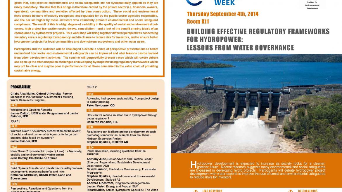 Building Effective Regulatory Frameworks  for Hydropower:  lessons from water governance