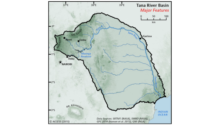 WISE UP Map for Tana River Basin in Kenya
