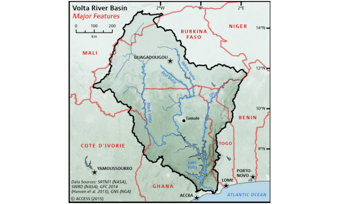 WISE-UP Map for Volta River Basin in Ghana and Burkina Faso